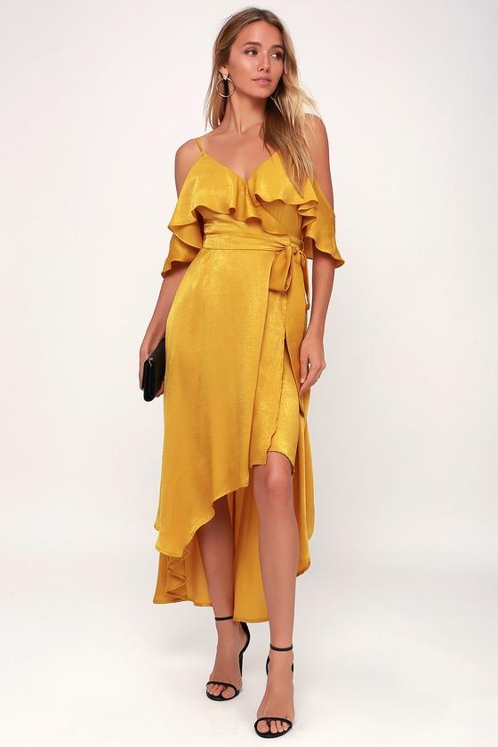 1670b66ac11af Layla Mustard Yellow Satin Off The Shoulder Wrap Dress by Lulu s