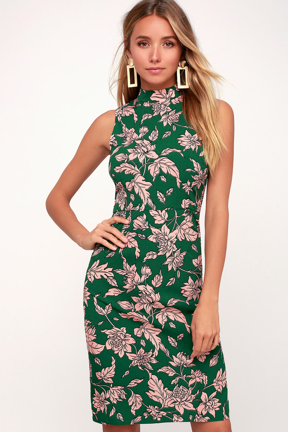ba56704fc86a Lovely Pink and Green Dress - Floral Print Dress - Sheath Dress