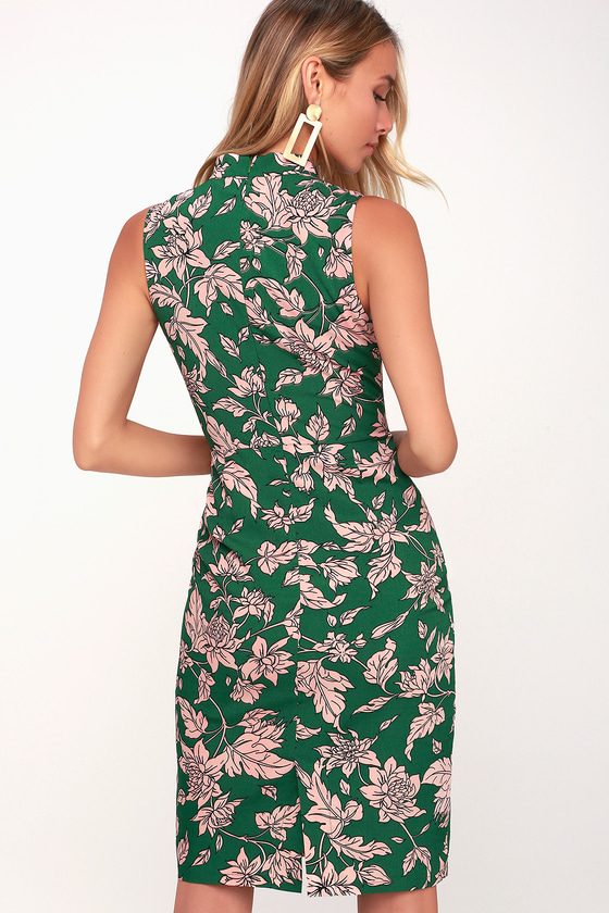 d6f27376612 Lovely Pink and Green Dress - Floral Print Dress - Sheath Dress