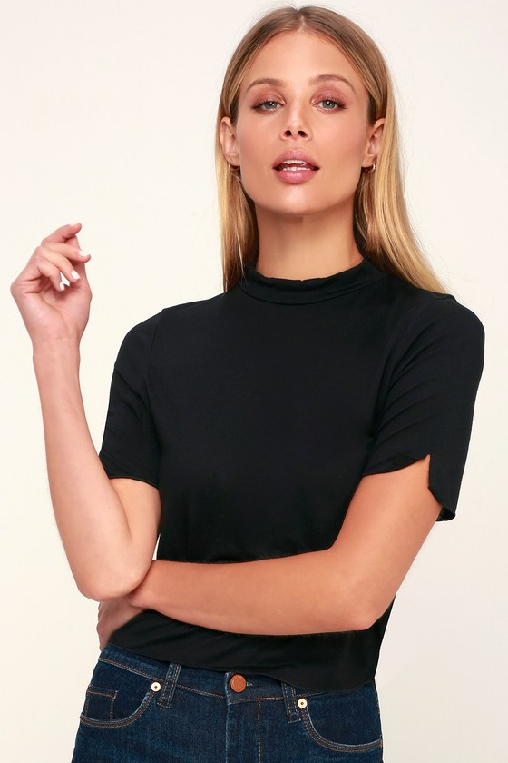 50534cceb269 Project Social T - Black Tee - Mock Neck Tee - Cropped Tee - Top