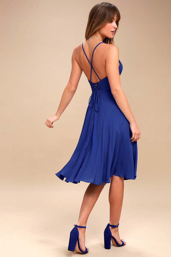 5755a9a8c3a Troulos Royal Blue Lace-Up Midi Dress