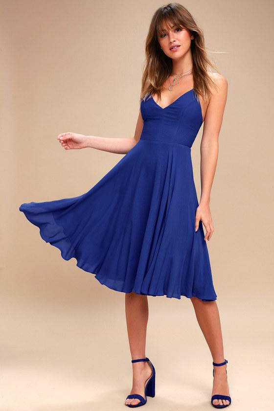 259c1e18bec3 Chic Midi Dress - Royal Blue Dress - Blue Lace-Up Dress