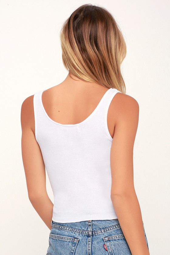 44ccce75921 Project Social T - White Tank Top - Button-Up Tank Top - Crop Top