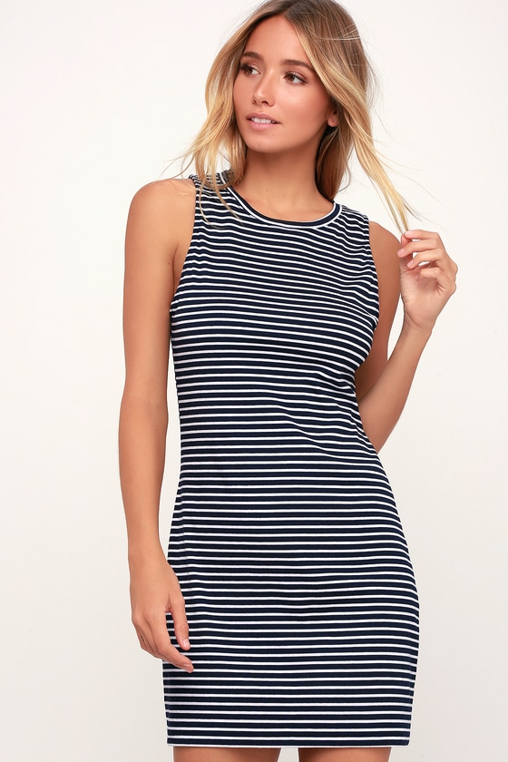 aa9e6c3f7352 Project Social T Tank Dress - Navy Blue and White Striped Dress