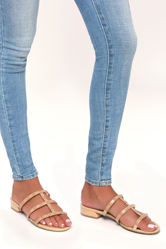 56268392da505 Cute Studded Sandals - Nude Sandals - Slide Sandals