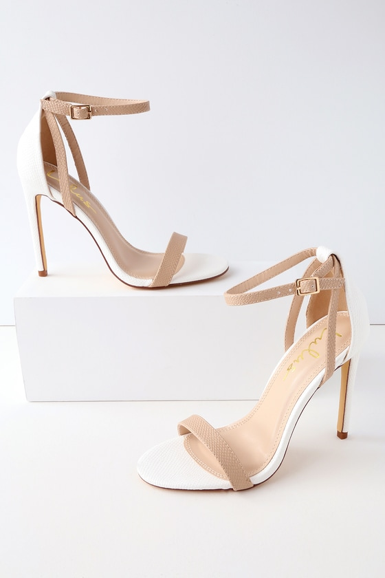 c2731bbea325 Cute White and Nude Heels - Ankle Strap Heels - Snake Heels