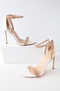 fe713e1d11 Lovely Ivory Ankle Strap Heels - Satin Heels - Rhinestone Heels