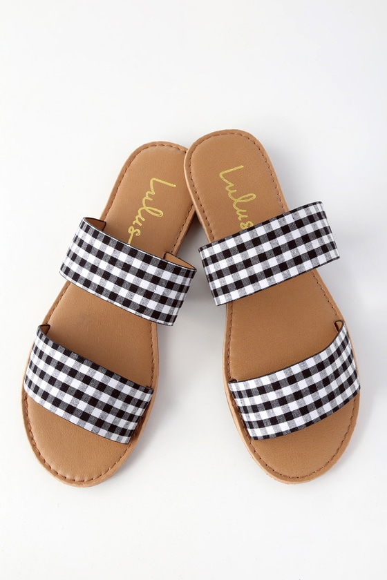72a38828b640b Cute Gingham Sandals - Slide Sandals - Flat Sandals
