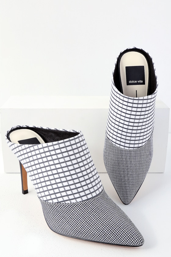 a0f52aca926 Cinda Black and White Grid Print Pointed Toe Mules