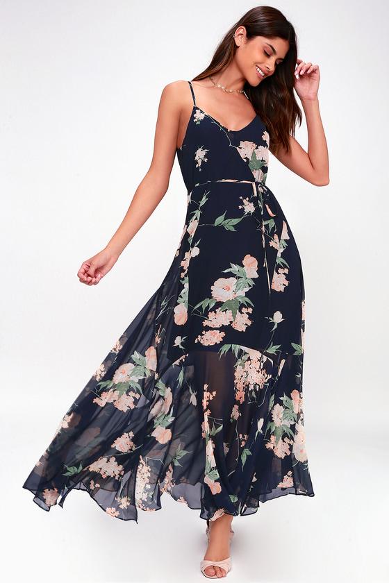 800bf9876d0f Blue Floral Print Dress - Maxi Dress - Blue Handkerchief Dress