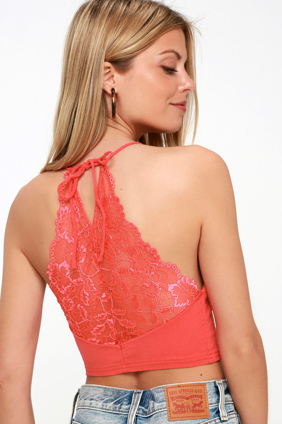 ac2854e18c Free People The Century - Lace Brami - Coral Red Bralette