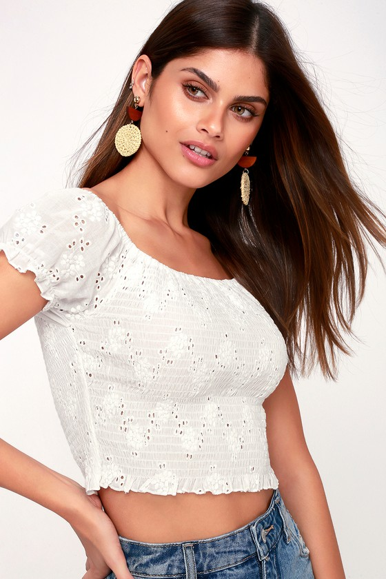 4341c5fbf3a89 Cute White Top - Eyelet Crop Top - Off-the-Shoulder Top