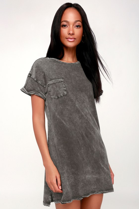 5bacc67aa2f Z Supply T-Shirt Dress - Washed Black T-Shirt Dress - Shirt Dress