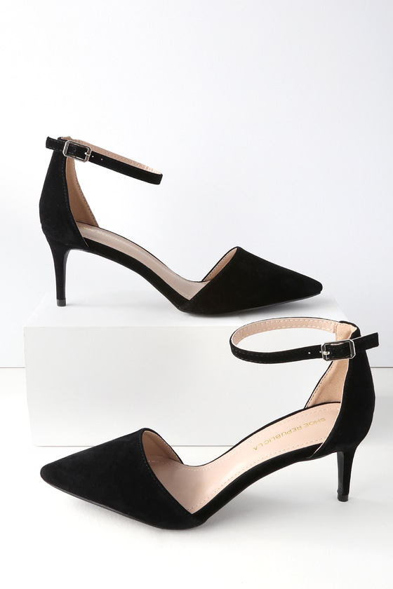 5d8f0016e82 Cute Black Pumps - Kitten Heels - Suede Ankle Strap Heels