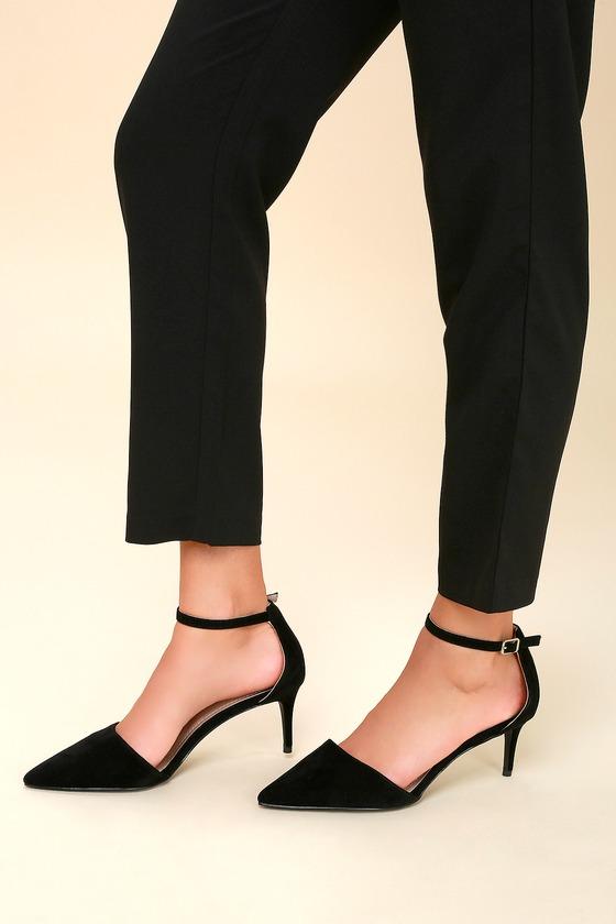 f4904ff6a3b Cute Black Pumps - Kitten Heels - Suede Ankle Strap Heels