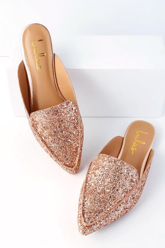 Joelle Rose Gold Glitter Loafer Slides - trendy cute shoes
