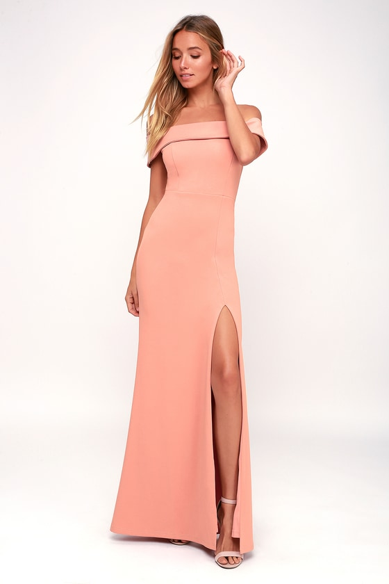 Aveline Mauve Pink Off-the-Shoulder Maxi Dress - Lulus