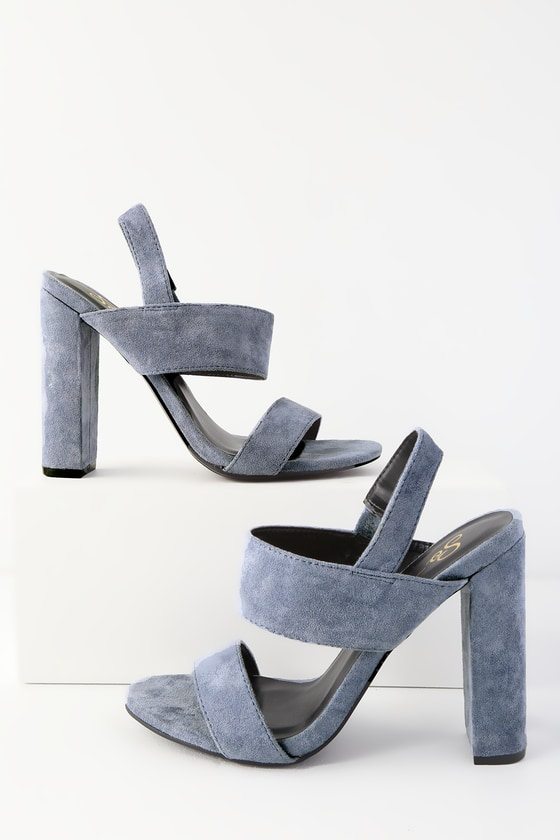 d39d45ec3 Cute Blue Heels - High Heel Sandals - Suede Heels - Vegan Heels