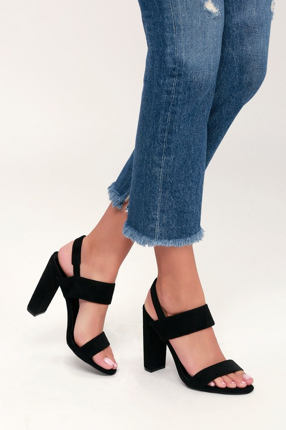 ca4b0f9d2 Cute Black Heels - High Heel Sandals - Suede Heels - Vegan Heels