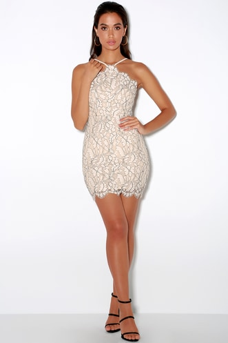 Delicate Darling Beige and Ivory Lace Bodycon Dress 14ec0235e