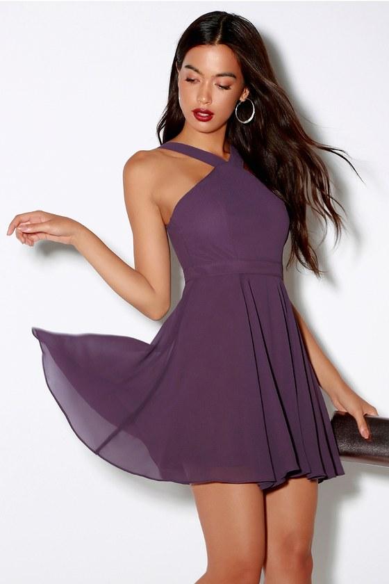Dusty Purple Skater Dress - Halter Dress - Bridesmaid Dress 1831a7aa3