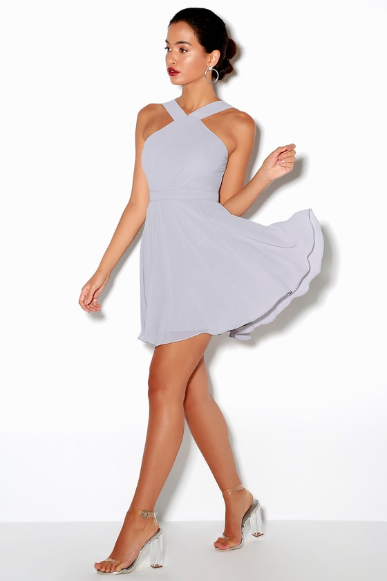 eb90443dc3b Grey Dress - Halter Dress - Skater Dress - Bridesmaid Dress