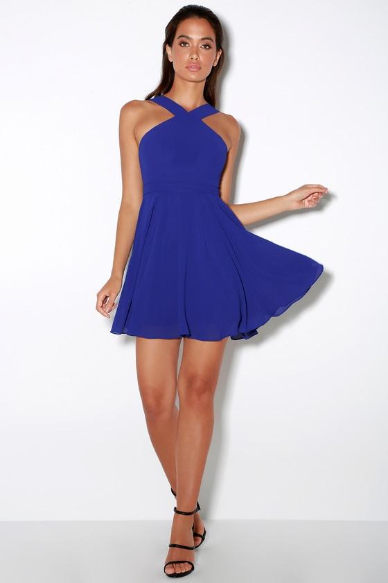 8dd7f6352b Royal Blue Halter Dress - Skater Dress - Bridesmaid Dress