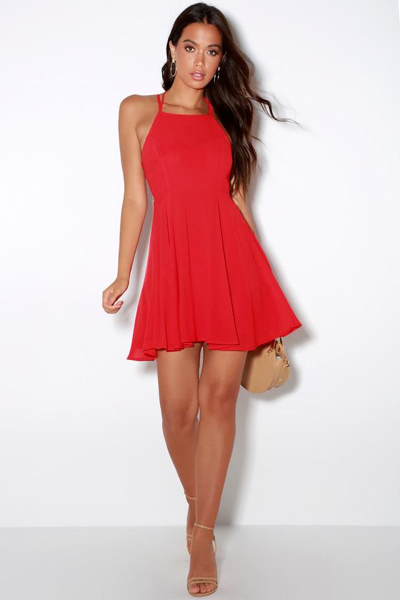 Sexy Red Dress Lace Up Dress Backless Dress