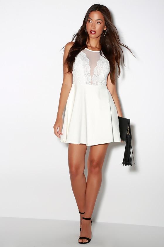 308ed58a2b Sexy White Dress - Lace Dress - Skater Dress - LWD