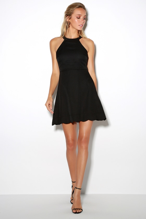 d9fa7df045 Cute Black Dress - Skater Dress - Halter Dress - LBD