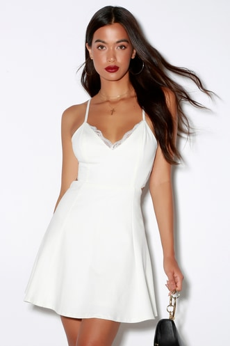 510a96a4bc Perfect Evening Ivory Lace Skater Dress