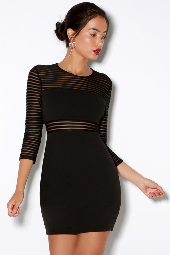 Perfect Mesh Black Bodycon Dress- Trendy Little Black Cocktail Striped Outfit