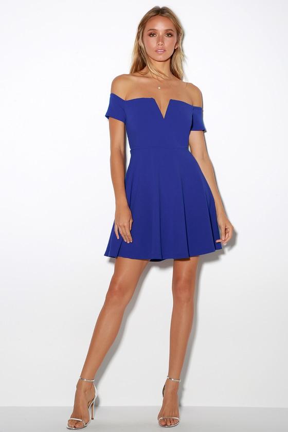 59344f5d1f2 Cute Cobalt Blue Dress - Off-the-Shoulder Dress - Skater Dress