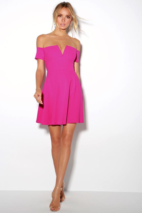 42c164fffd9 Cool Fuchsia Dress - Off-the-Shoulder Dress - Skater Dress
