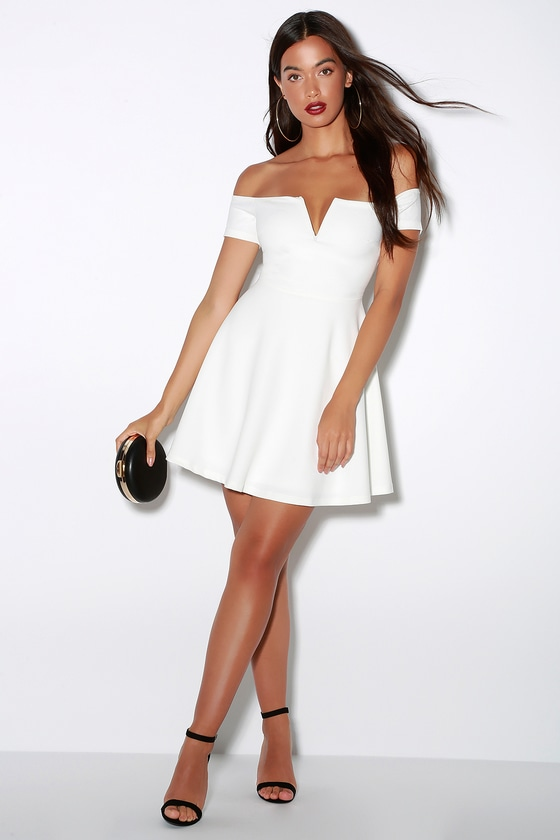 Play the Party White Off-the-Shoulder Skater Dress