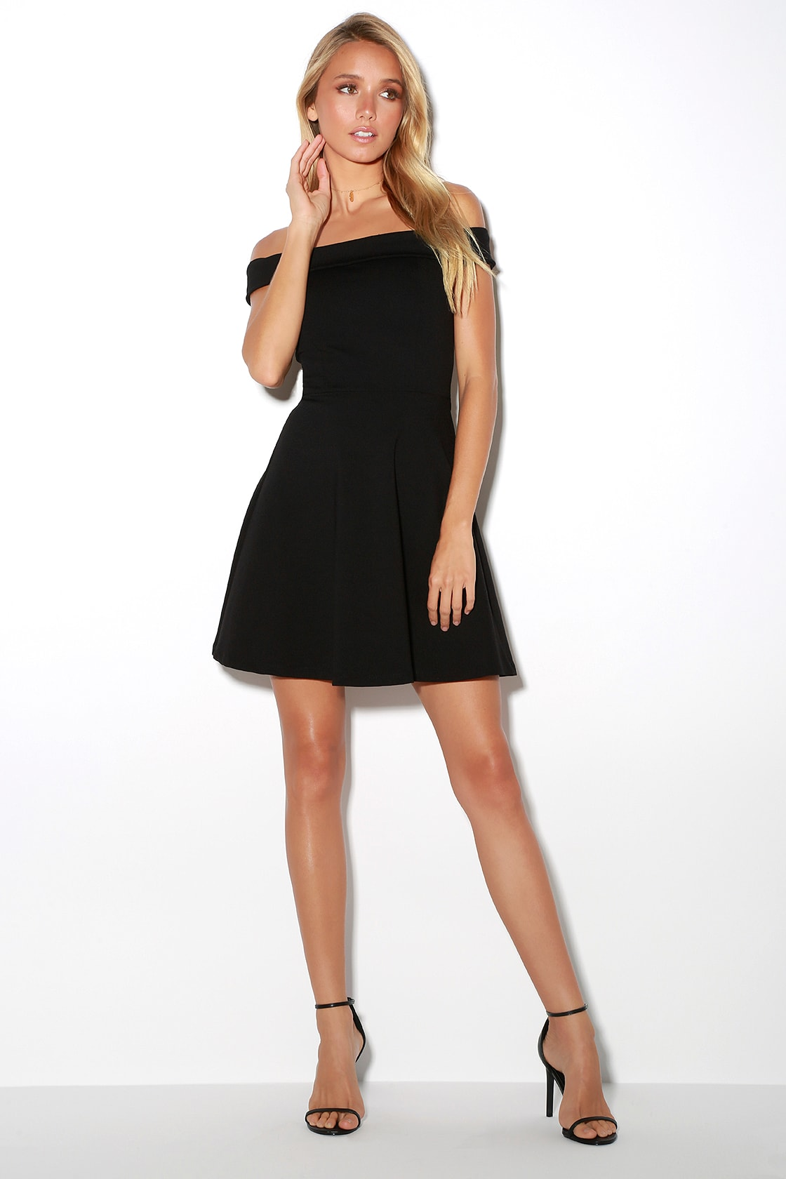 Season Of Fun Black Off The Shoulder Skater Dress