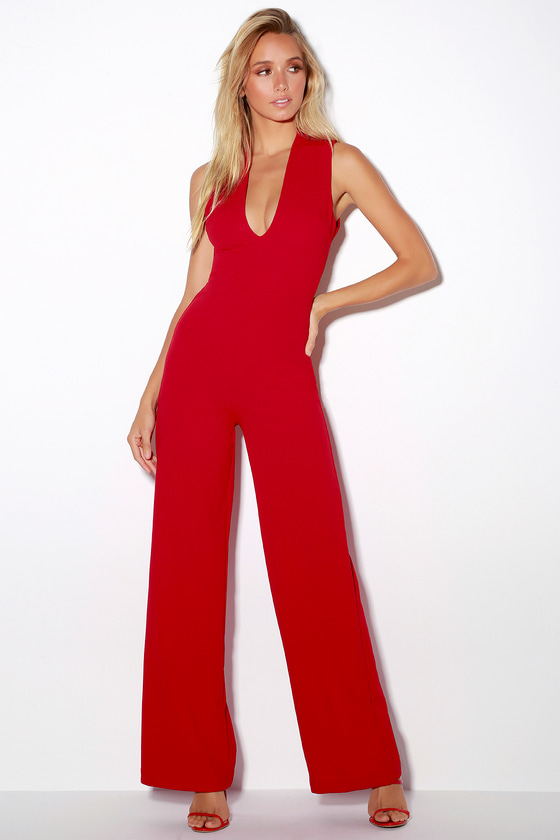 a6e1525be7 Chic Red Jumpsuit - Backless Jumpsuit - Sleeveless Jumpsuit