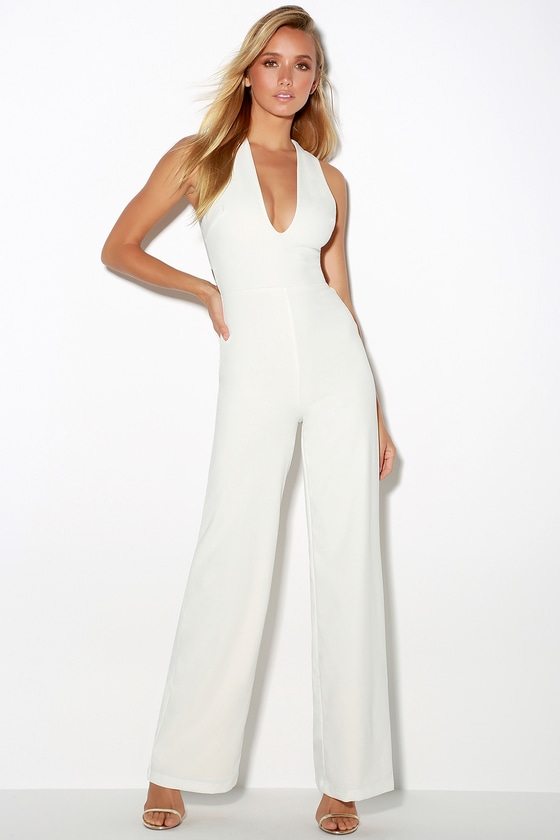 4004a1ecdcd Chic White Jumpsuit - Backless Jumpsuit -Sleeveless Jumpsuit