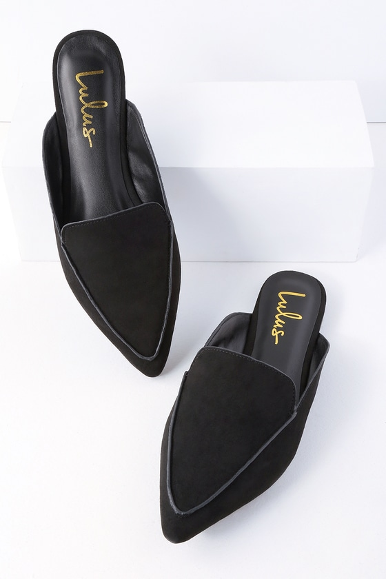 great look united kingdom casual shoes Chic Black Suede Loafer Slides - Slip-On Loafers - Flats