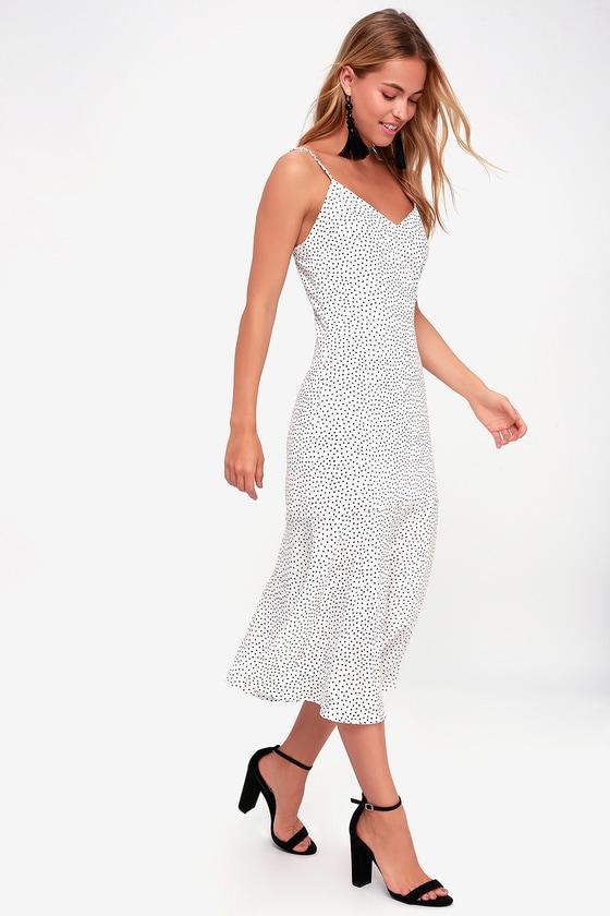e86bd2260ef0 Cute Midi Dress - Polka Dot Midi Dress - Trumpet Hem Dress