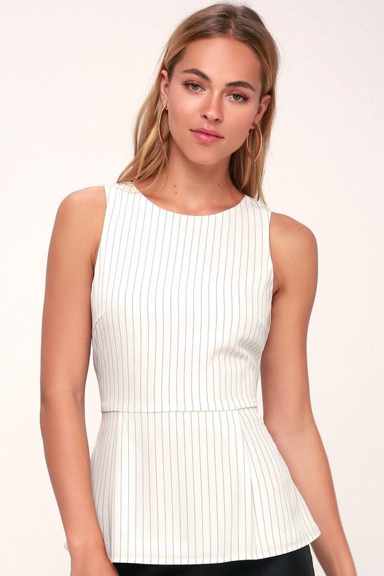 5884625834bbee Chic White Striped Top - Peplum Top - Pinstripe Top