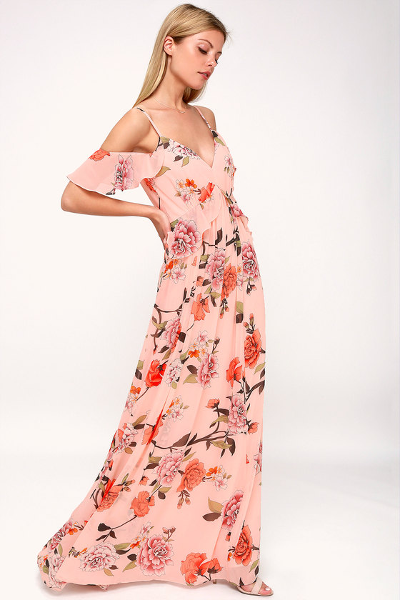 a71f8ee4f4402 Lovely Blush Maxi Dress - Ruffled Maxi Dress - Floral Maxi Dress