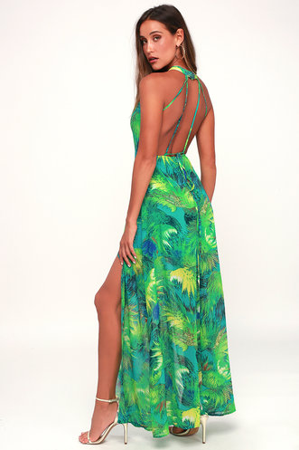 21ade78b76 Tropic of Discussion Green Tropical Print Maxi Dress