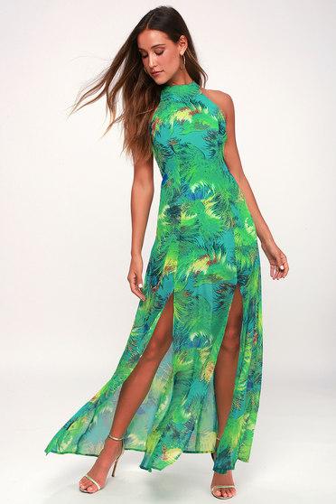 de091385ccb07 Tropic of Discussion Green Tropical Print Maxi Dress