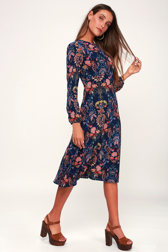 GARDEN SPLENDOR CASUAL NAVY BLUE FLORAL PRINT DRESS