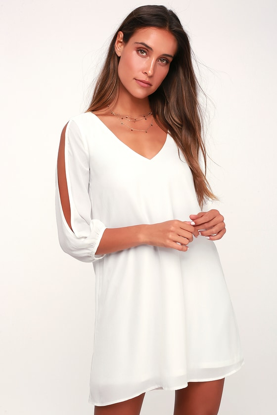 c417c3abc7 Pretty Ivory Dress - Shift Dress - Cold Shoulder Dress