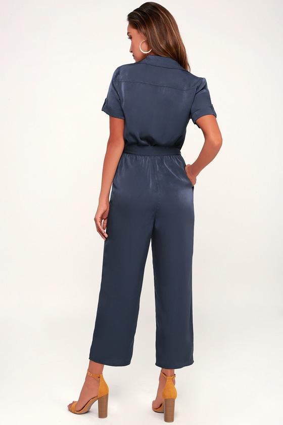81df869c037 Cute Jumpsuit - Navy Blue Jumpsuit - Satin Jumpsuit - Jumpsuit