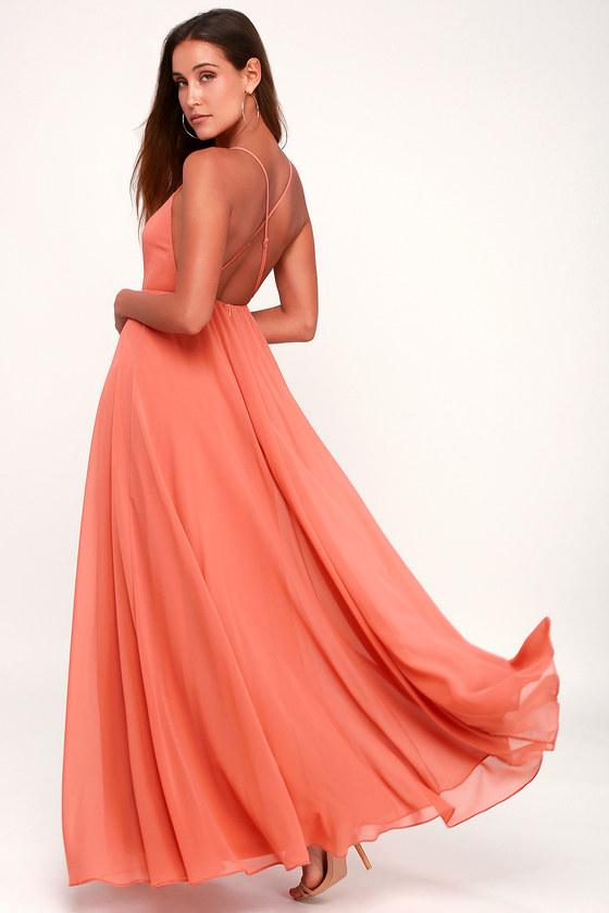 18e12eda13 Lovely Rusty Rose Dress - Maxi Dress - Backless Maxi Dress
