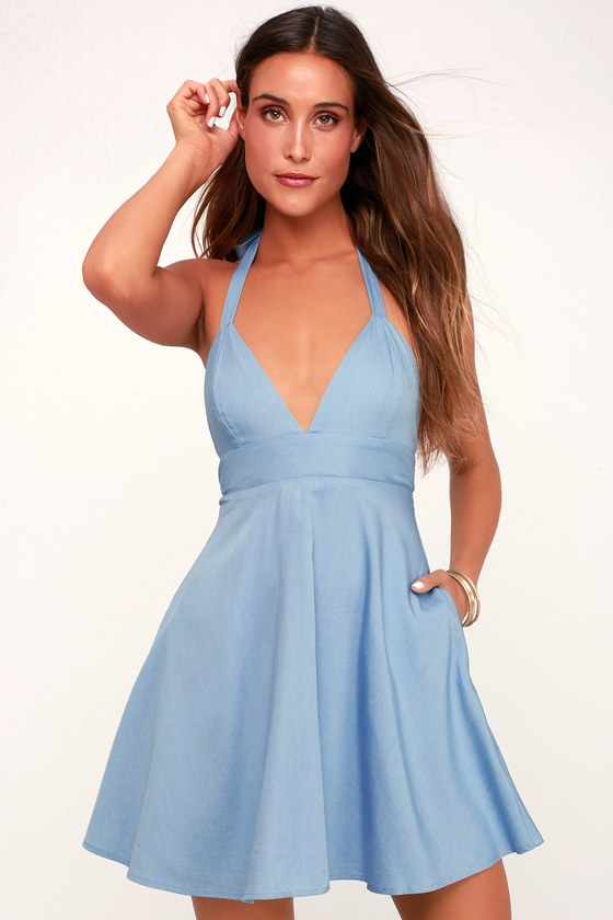 2af0fe55d3047 Lovely Blue Dress - Chambray Dress - Halter Dress