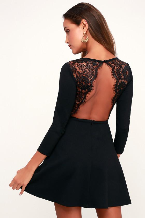 82438fda77 Cute Skater Dress - Black Skater Dress - Backless Dress - LBD